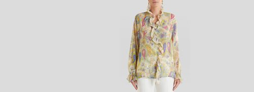 Praisley Silk Shirt Ruches